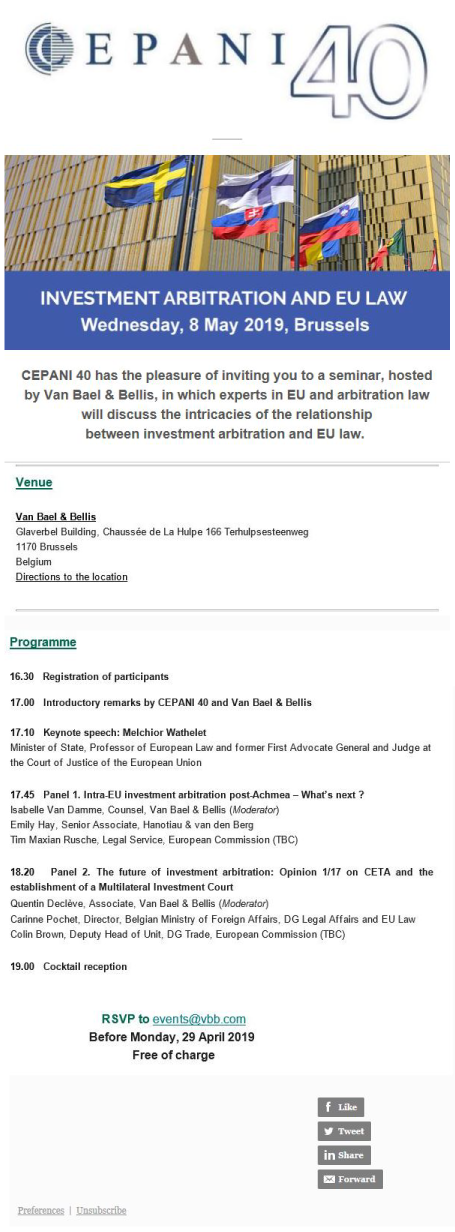 SAVE THE DATE: CEPANI40 Event on Investment Arbitration and EU Law